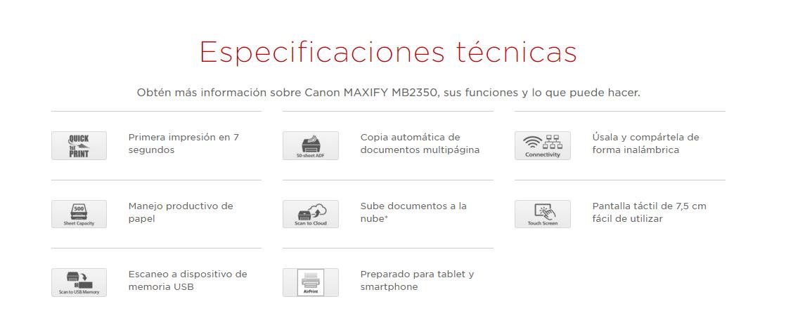 especificaciones tecnicas de la impresora Canon Maxify mb2350