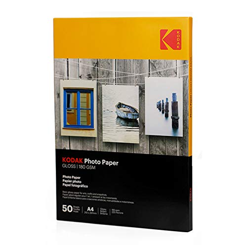 Kodak Gloss Insta Dry- Papel fotográfico A4, 50 hojas, 180 g, amarillo