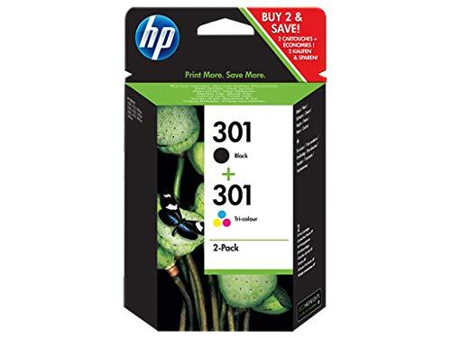HP 301 N9J72AE , Pack de 2, Cartuchos de Tinta Originales Negro y Tricolor,...