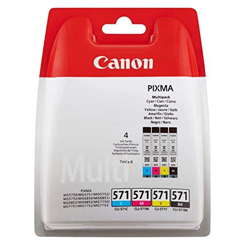 Canon CLI-571 4 Cartuchos de tinta BK/C/M/Y para Impresora de Inyeccion...