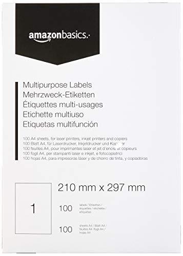 AmazonBasics - Etiquetas de dirección multiusos, 210.0mm x 297.0mm, 100...