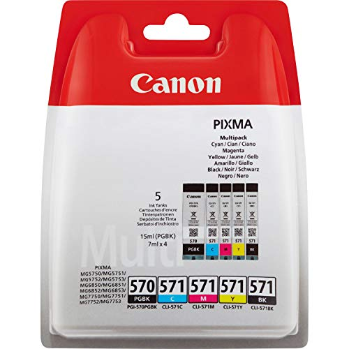 Canon PGI-570+CLI-571 5 Cartuchos Multipack de tinta original PGBK/BK/C/M/Y...