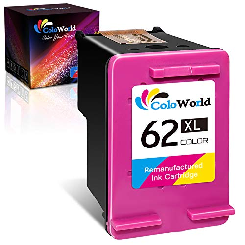 ColoWorld Cartuchos de tinta remanufacturados 62 XL para HP OfficeJet 200...