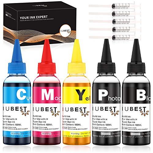 IUBEST Kit de Recarga Tinta 100 ml Cada Botella para HP Impresoras...