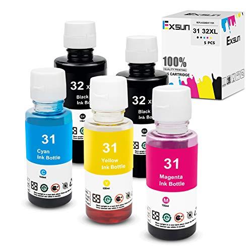 Exsun 5X Botella de Tinta de Recarga Compatible para HP 31/32XL Botella de...
