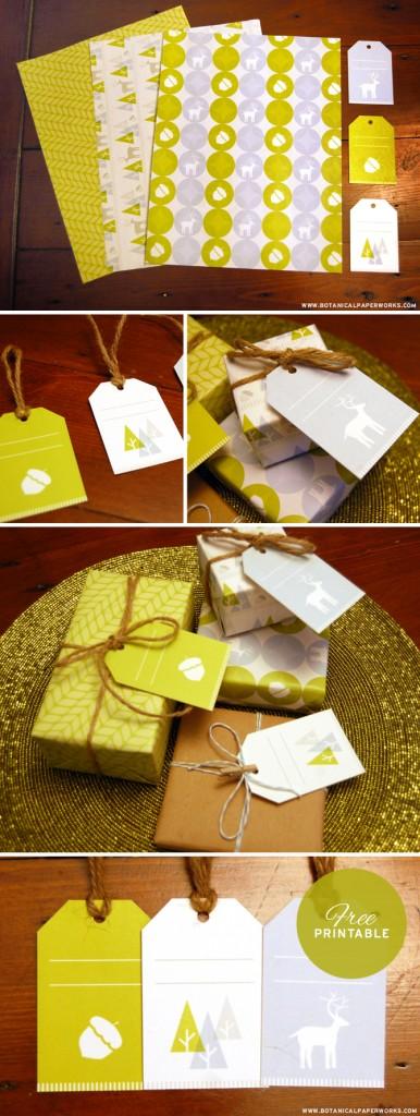 Etiquetas y papel de regalo. Descarga aquí.