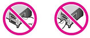 No toque los contactos de color cobre ni los inyectores de tinta. Si toca estas piezas, puede provocar obstrucciones, fallas de la tinta y conexiones eléctricas defectuosas.