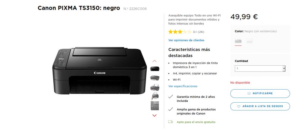 Compra Canon PIXMA TS3150 negro