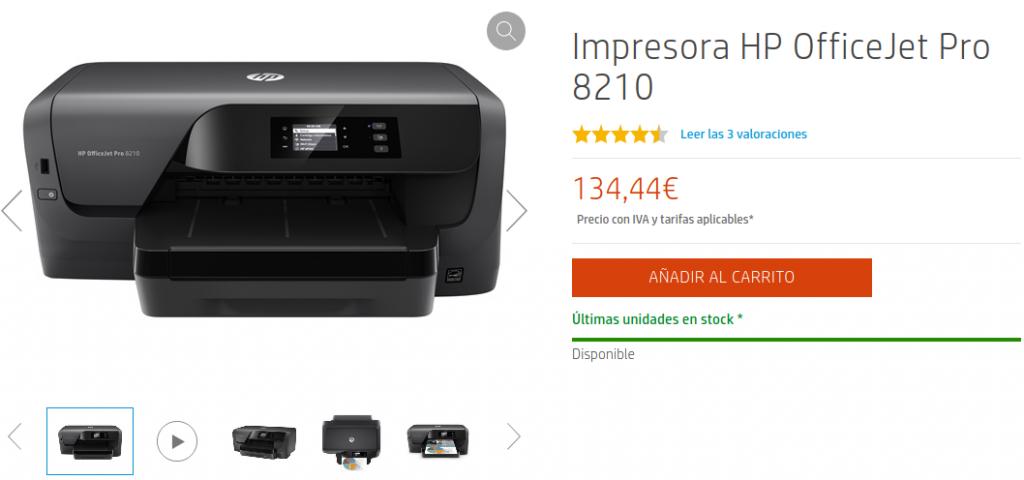 Precio Impresora HP OfficeJet Pro 8210