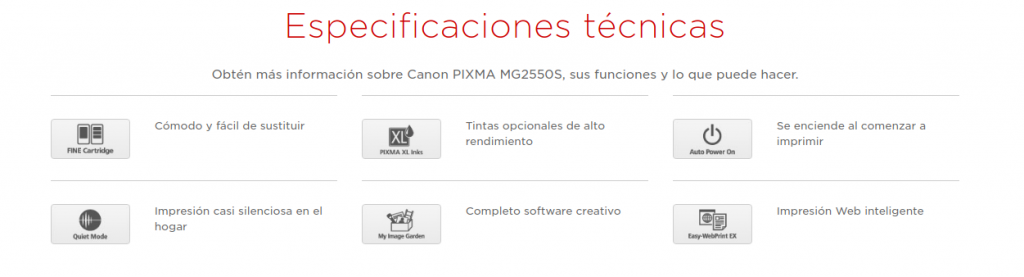 Especificaciones tecnicas Canon PIXMA MG2550S