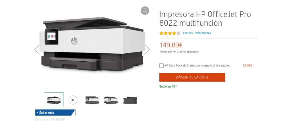 Impresora HP OfficeJet Pro 8022 multifunción precio