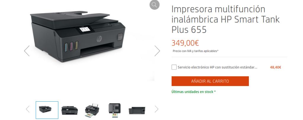 Precio Impresora multifunción inalámbrica HP Smart Tank Plus 655