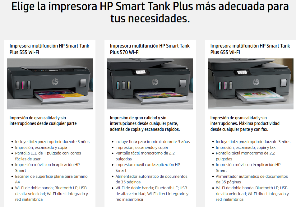 comparativa HP Smart Tank Plus