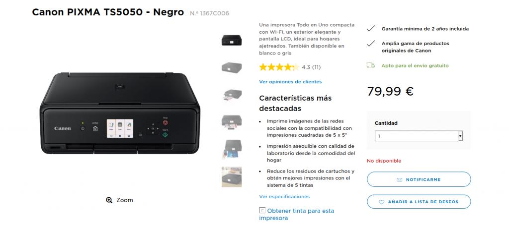 Precio Compra Canon PIXMA TS5050 - Negro