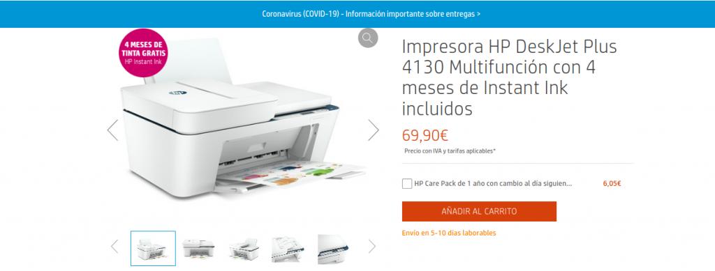Precio Impresora HP DeskJet Plus 4130 Multifunción