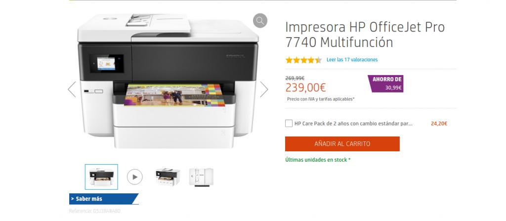 Precio Impresora HP OfficeJet Pro 7740 Multifunción