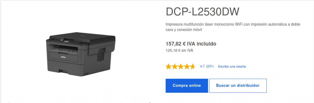 Precio Impresora Multifunción Láser Monocromo DCP-L2530DW Brother