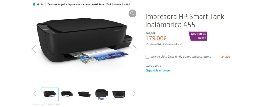 precio Impresora HP Smart Tank inalámbrica 455