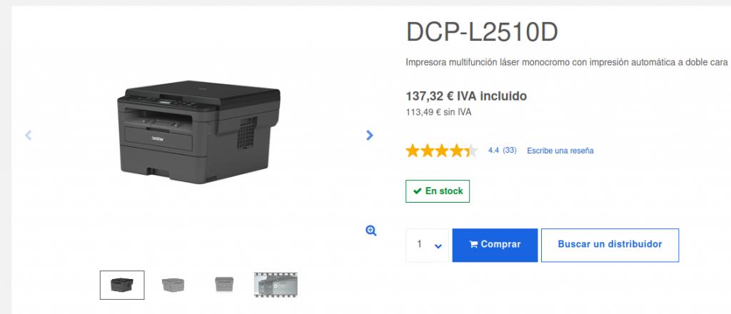 Precio Impresora Multifunción Láser Monocromo DCP-L2510D Brother
