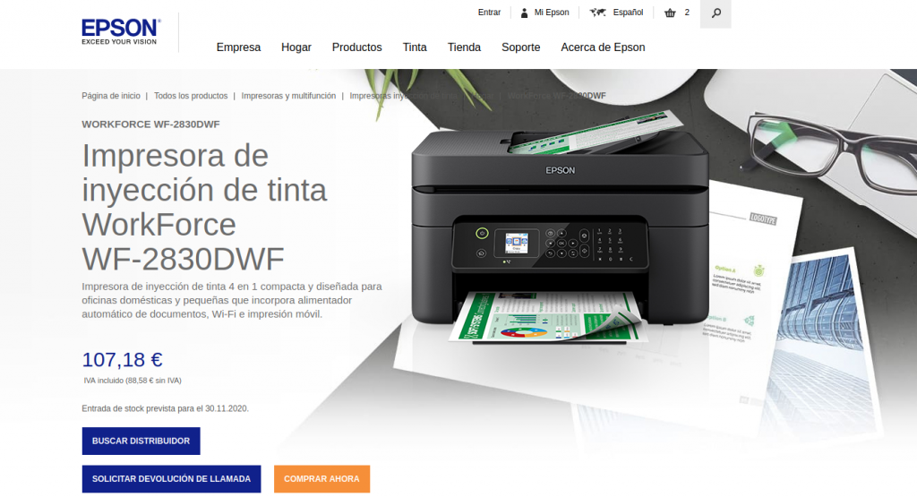 Precio WorkForce WF-2830DWF