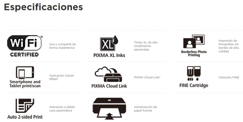 Especificaciones PIXMA MG3650S