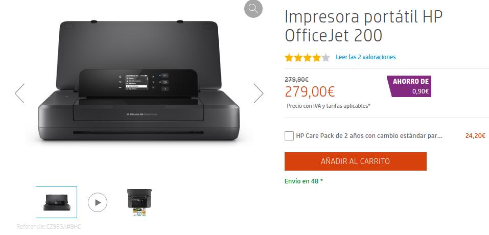 Precio Impresora portátil HP OfficeJet 200