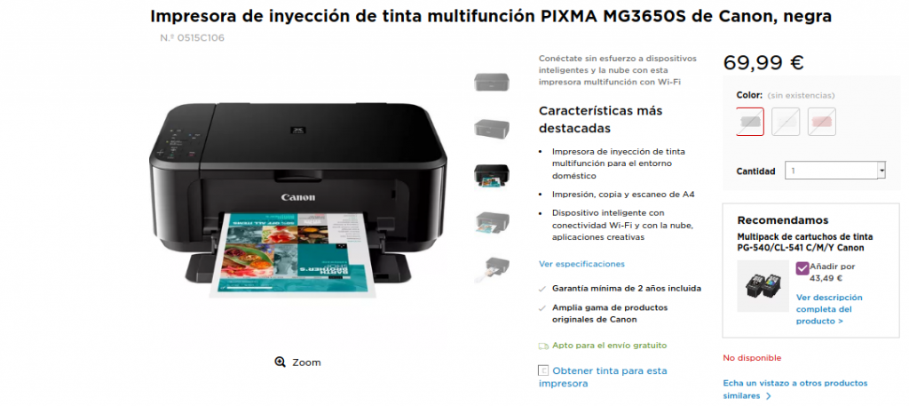Precio de Compra Impresora de inyección de tinta multifunción PIXMA MG3650S de Canon, negra, roja, blanca