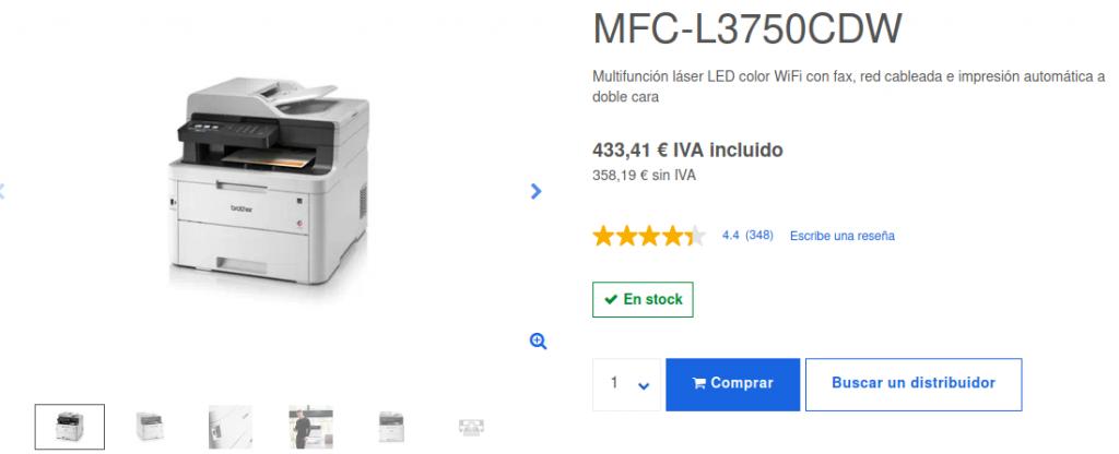 Precio Impresora Multifunción Láser LED Color MFC-L3750CDW Brother