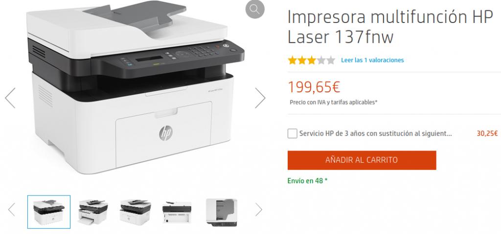 Precio Impresora multifunción HP Laser 137fnw