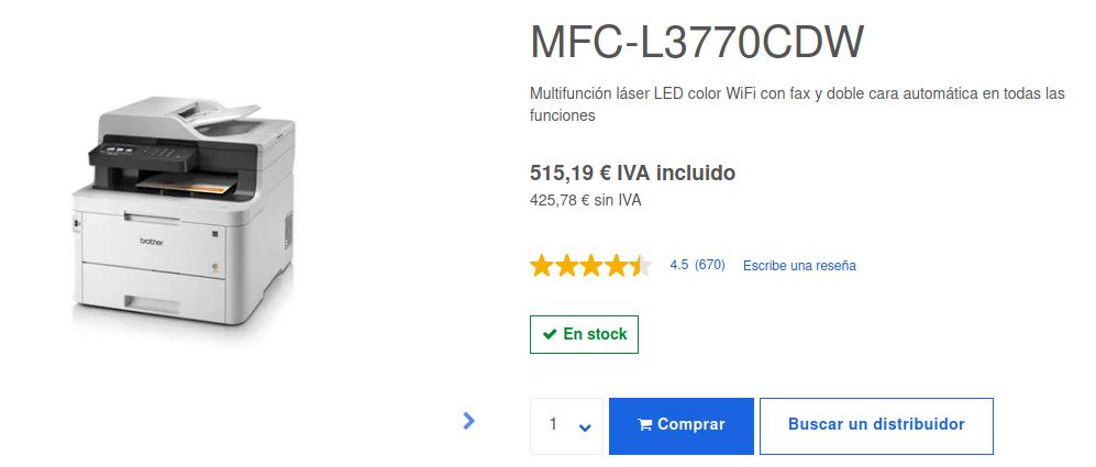 Precio Impresora Multifunción Láser LED Color MFC-L3770CDW Brother