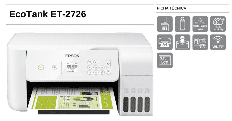 Ficha técnica de la impresora Epson EcoTank ET-2726
