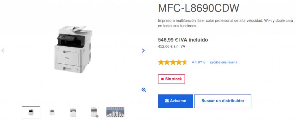 Precio Impresora Multifunción Láser Color MFC-L8690CDW Brother
