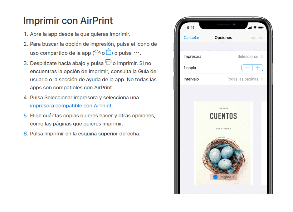 imprimir con AirPrint desde el iPhone, iPad o iPod touch