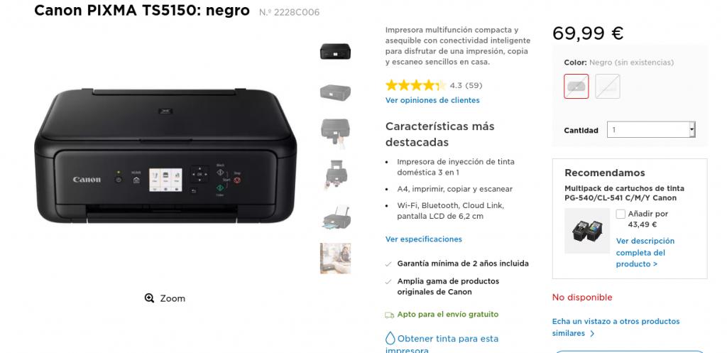 Precio Compra Canon PIXMA TS5150 negro