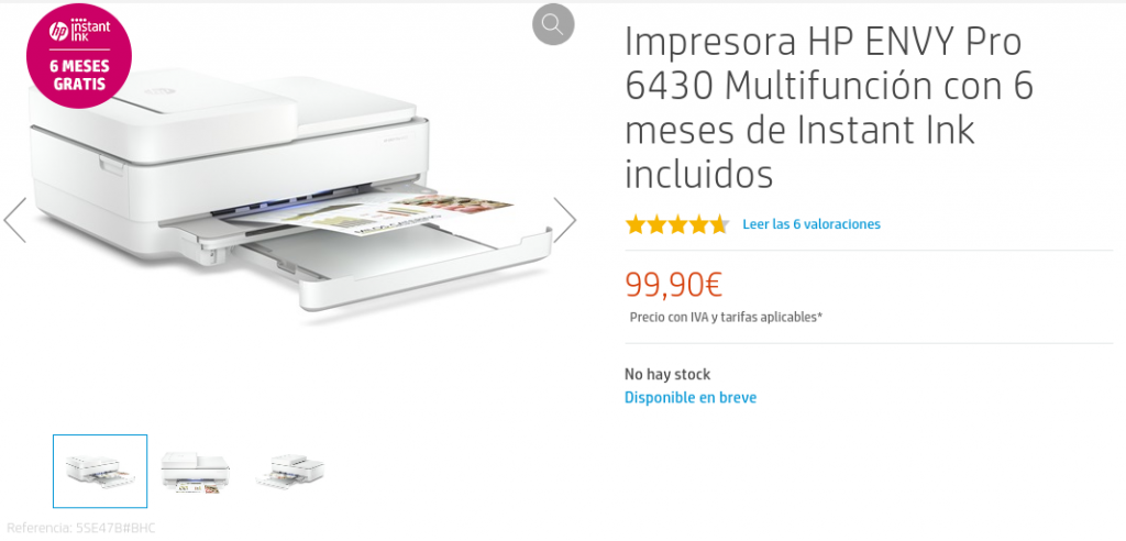 Precio Impresora HP ENVY Pro 6430 Multifunción con 6 meses de Instant Ink incluidos - HP Store España