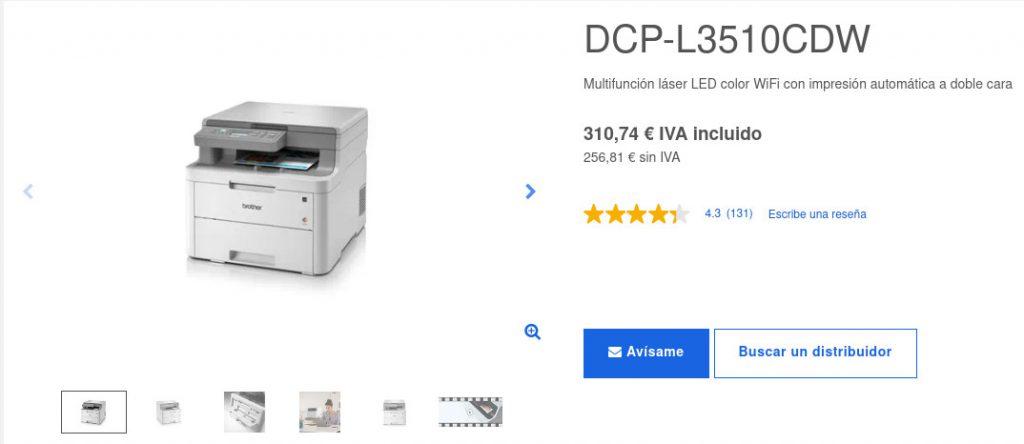 Precio Impresora Multifunción Láser LED Color DCP-L3510CDW, Brother