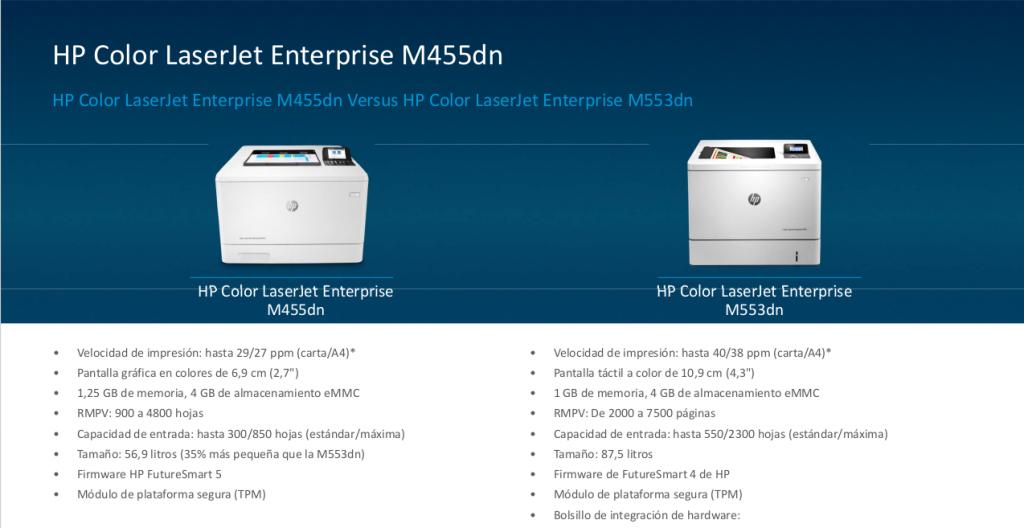 Impresora HP Color LaserJet Enterprise M455DN vs HP Color LaserJet Enterprise M553dn