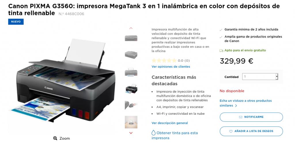 Precio Canon PIXMA G3560 impresora MegaTank 3 en 1 inalámbrica en color con depósitos de tinta