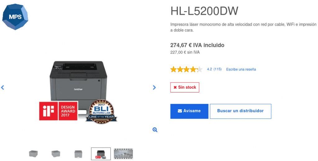 Precio Impresora Láser Monocromo HL-L5200DW, Brother