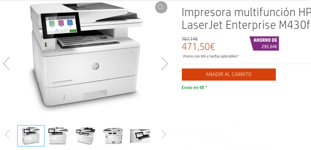 Precio Impresora multifunción HP LaserJet Enterprise M430f en HP Store España