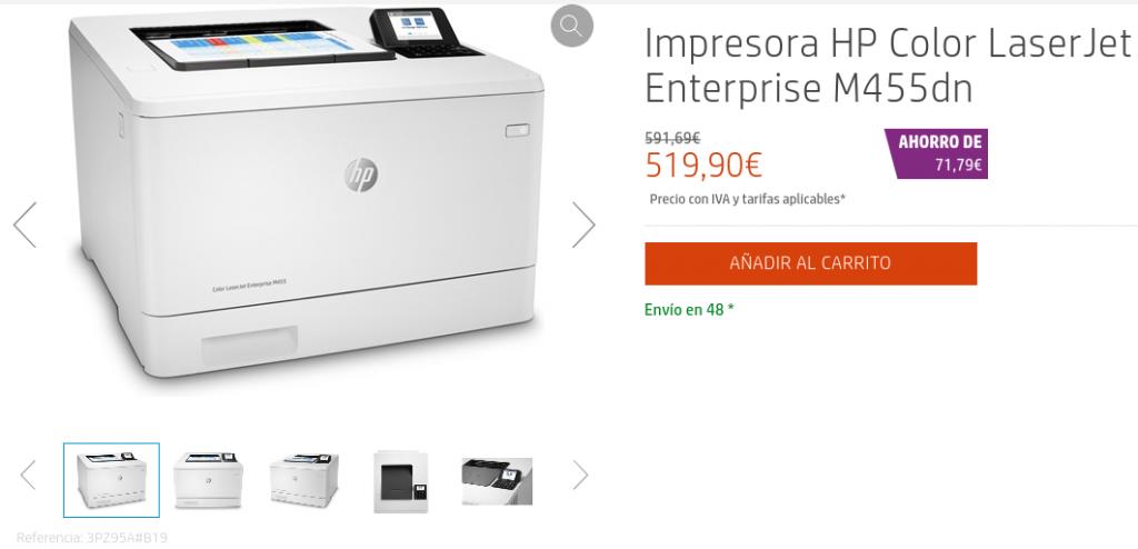 Precio Impresora HP Color LaserJet Enterprise M455dn