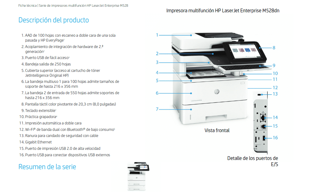 Caracteristicas principales Impresora HP LaserJet Enterprise M528dn