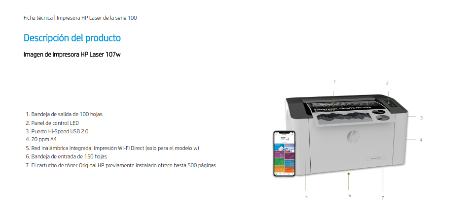 Características de la impresora HP Laser 107w
