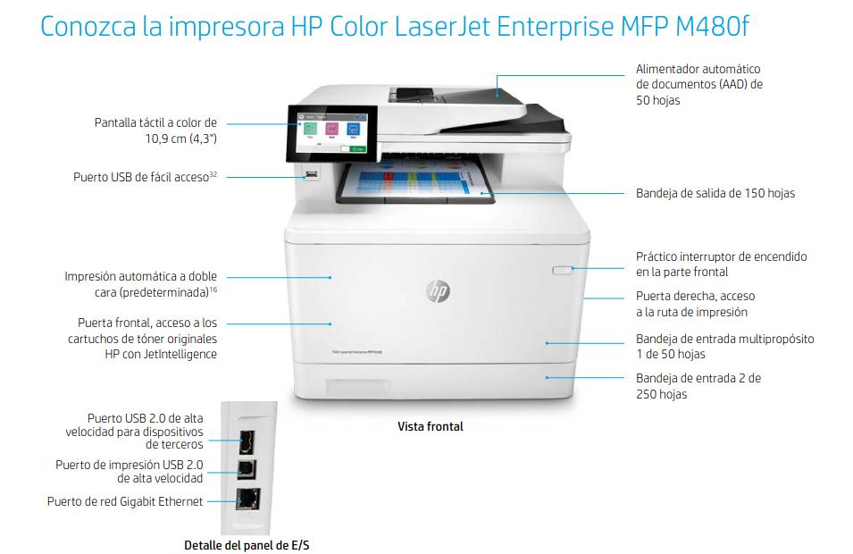 HP Color Laser Enterprise M480f caracteristicas