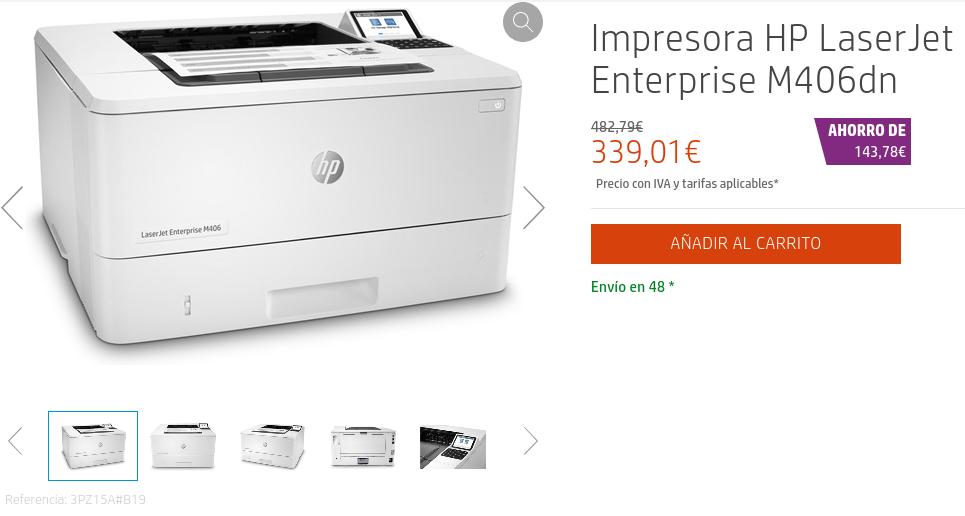 Precio Impresora HP LaserJet Enterprise M406dn