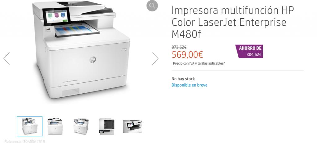 Precio Impresora multifunción HP Color LaserJet Enterprise M480f