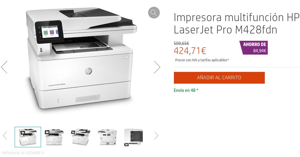 Precio Impresora multifunción HP LaserJet Pro M428fdn