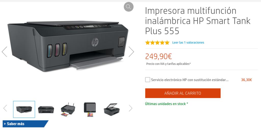 Precio Impresora multifunción inalámbrica HP Smart Tank Plus 555