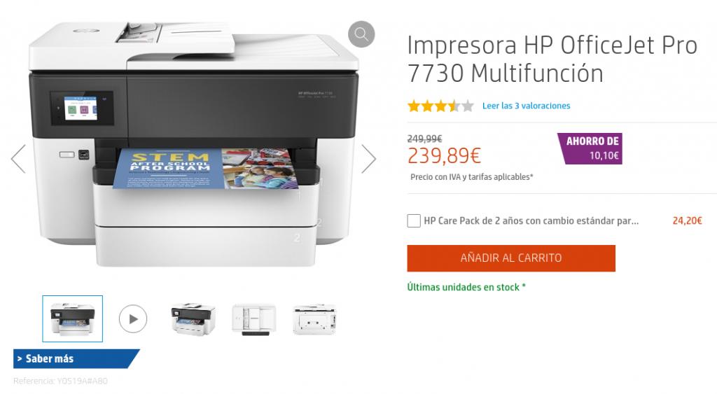 Precio Impresora HP OfficeJet Pro 7730 Multifunción
