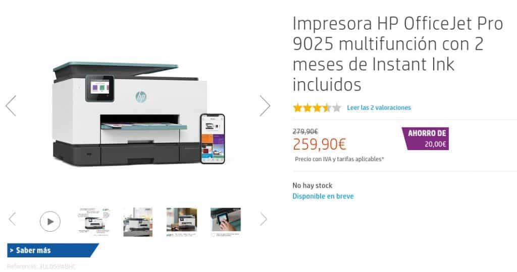 Precio Impresora HP OfficeJet Pro 9025 multifunción